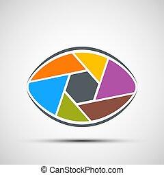 oeil, shutters., formulaire, vec, humain, lens., ouverture, logo, stockage
