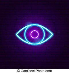 oeil, signe néon