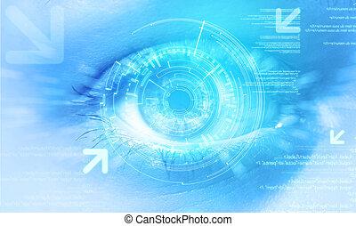 oeil, utilisateur, fond, interface, technologie, futuriste