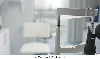 oeil, vérification, monde médical, moderne, fendez lampe, appareil