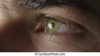 oeil, vert, clignotant