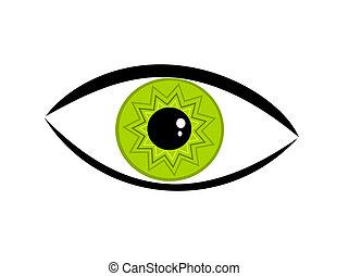 oeil vert, illustration