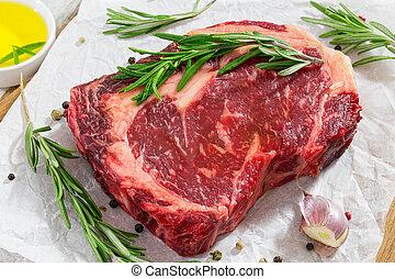 oeil, viande, boeuf, cru, papier, frais, blanc, bifteck, côte