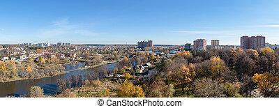 oeil, ville, moscou, troitsk, district, oiseaux, vue