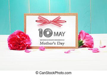 oeillets roses, mères, mai, 10ème, jour, carte