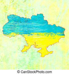 oekraïne, grunge, kaart, met, de, vlag, binnenkant.