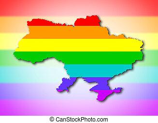 oekraïne, -, regenboog, markeer model