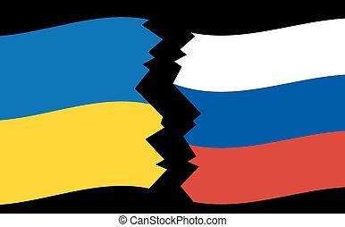 oekraïne, vlaggen, -, rusland, barst
