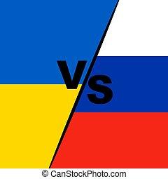 oekraïne, vlaggen, rusland