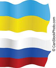 oekraïne, vlaggen, vector, rusland