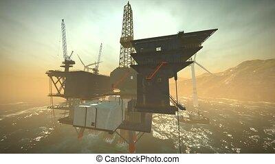 oel, aus, turbinen, arbeitsbühne, ufer, takelung, wind