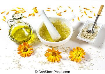 oel, bestandteile, schale, meer, haut, olive, salz