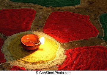 oel, bunte, diwali, rangoli, lit, lampe, feier