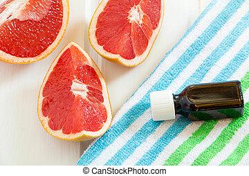oel, concept., saftig, grapefruit., glas flasche, spa, wesentlich, frisch