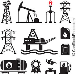 oel, elektrizität, gas, symbole