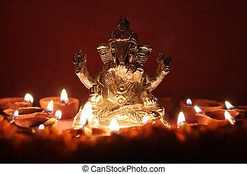 oel, fest, jahreszeit, lampe, ganesh, umgeben, idol