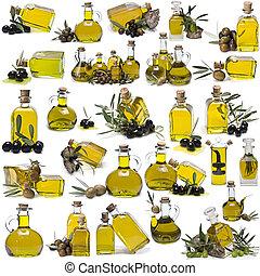 oel, flaschen, freigestellt, sammlung, groß, hintergrund., olive, weißes