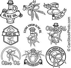 oel, zeichen., emblem, labels., fester entwurf, olive, elemente, logo