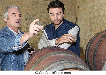 ∥, oenologist, そして, a, ワイン, プロデューサー
