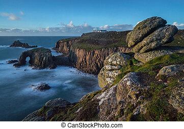 oeste, acantilado, borde,  Cornwall,  sennen