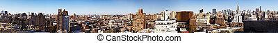 oeste, aldea, york nueva, centro de la ciudad, panorama,...