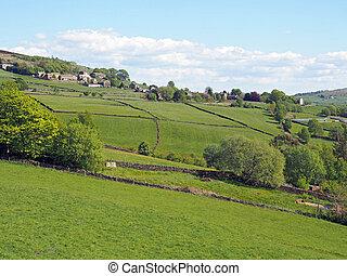 oeste, campos, paredes, viejo, piedra, campo, pueblo,...