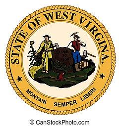 oeste, estado, sello virginia