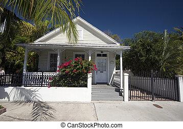oeste, florida, arquitectura, llave, hogar, típico
