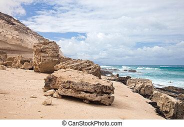 oeste, fuerteventura, costa, canário, jandia, ilhas