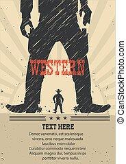 oeste, gunfight, cartaz, para, text.vector, ilustração