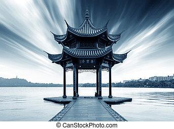 oeste, hangzhou, lago china