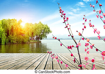 oeste, hangzhou, lago, paisaje