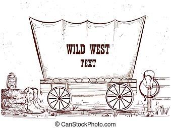 oeste, ilustração, wagon.vector, fundo, texto, selvagem