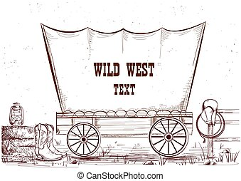 oeste, ilustración, wagon.vector, plano de fondo, texto,...