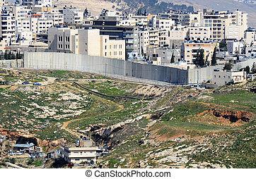 oeste, israel, banco, barrera