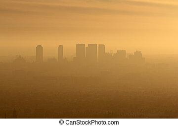 oeste, la, niebla tóxica