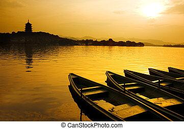 oeste, lago, en, china