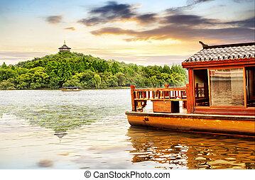 oeste, lago, en, hangzhou, china