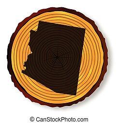 oeste, mapa, arizona, madeira