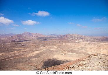 oeste, montana, fuerteventura, roja, vista