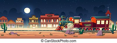 oeste, ocidental, vapor, selvagem, cidade, vetorial, trem, noturna