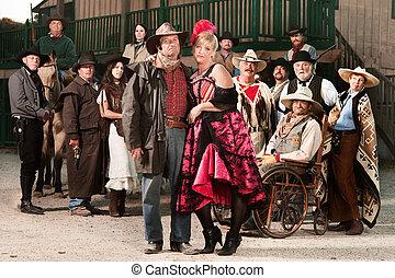 oeste, prostituta, viejo, duro, vaquero
