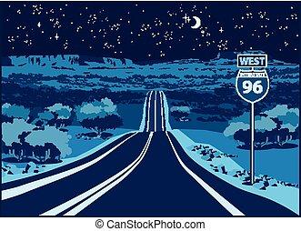 oeste, rodovia, noturna