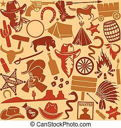 oeste selvagem, ícones, seamless, padrão