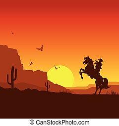 oeste selvagem, americano, paisagem deserto, com, boiadeiro,...