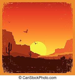 oeste selvagem, americano, paisagem deserto, ligado,...
