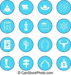 oeste selvagem, azul, boiadeiro, ícone
