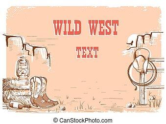 oeste selvagem, boiadeiro, fundo, para, text.