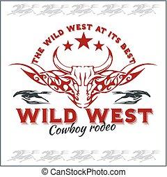 oeste selvagem, -, boiadeiro, rodeo., vetorial, emblem.