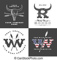 oeste selvagem, conceito, ilustrações